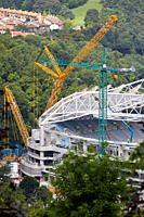 Giant crane supporting metal structure, Truss Placement, Anoeta Stadium Cover, Amara, Donostia, San Sebastian, Gipuzkoa, Basque Country, Spain