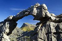 Stone arch at Serra de Tramuntana, Escorca, Majorca, Balearic Islands, Spain