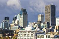 Canada, Quebec, Montreal, city skyline from the St. Lawrence River.