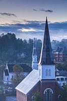 USA, New England, Vermont, Montpelier, elevated view of church steeples.