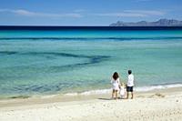 Family at Playa de Muro, Alcudia Bay, Majorca, Balearic Islands, Spain.