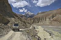 The wild road through the Bartang Valley, Pamirs, Tajikistan.