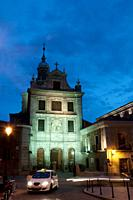 Sacramental Castrense cathedral, night view. Madrid, Spain.