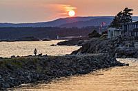 Sunset at Macaulay Point Park - Esquimalt, Victoria, Vancouver Island, British Columbia, Canada.