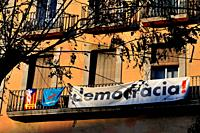 Banners and independence flag in Tarragona, Catalonia.