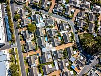 aerial view of suburban living. Cape Town, South Africa.