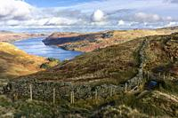 Haweswater Reservoir from Rough Crag in the Lake District National Park, Cumbria, England.