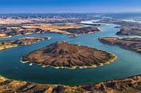 Meanders of River Ebro near Caspe, Zaragoza province, Aragon, Spain