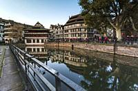 Half-timbered houses and canal in Petite France, Strasbourg district, Alsace, Grand Est region, Bas-Rhin, France.