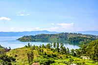 Lake Kivu, one of the largest of the African Great Lakes, In Rwanda.