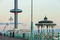 Evening on Brighton seafront, East Sussex, England. Victorian Bandstand and i360 tower in the distance.