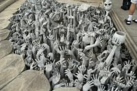 Devil's Hands from Hell, one of many beautiful decorations in Rongkhun Temple or White Temple in Chiangrai, Thailand