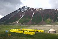 Camp base at Achik tash near peak Lenin ( Pamir mountains, Kyrgyzstan).