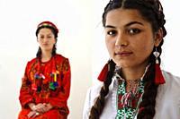 Traditionally dressed Pamiri women ( Tajikistan). Both are nizari ismailis. Ismailism is a branch of shia islam, ismailism itself is divided in 15 bra...