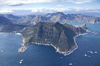 Areal of Hout Bay, showing Hangberg, The Sentinel, South Africa.