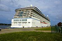 Cruise ship docked at Riga Latvia on the Baltic Sea.