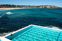 21. 09. 2018, Sydney, New South Wales, Australia - A swimmer is seen swimming his laps in the outdoor pool of the Bondi Icebergs Swimming Club with Bo...