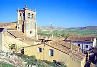 San Pedro church and view of the village. Castrojeriz, Burgos province, Castilla Leon, Spain.
