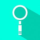 Magnifying glass icon on green background. Vector illustration