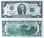 2 dollars banknote, Thomas Jefferson, Declaration of Independence, USA, 1995.