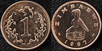 1 cent coin, Zimbabwe, 1997.