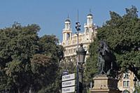 Partial view of Plaça Catalunya with the Casa Pich i Pon by architect Puig i Cadafalch standing out out. Barcelona, Catalonia, Spain.