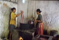 rinsing stage in dyeing process, Kidang Mas Batik House, Lasem, Java island, Indonesia, Southeast Asia.