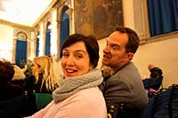 Angry for some reason at an opera concert. Scuola di San Teodoro. Venice, Venero, Italy, Europe.
