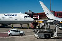 02. 06. 2017, Berlin, Germany, Europe - A Lufthansa passenger plane shortly before docking at Berlin's Tegel Airport. Lufthansa is a member of the Sta...