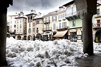 Market square under a blanket of snow. Domodossola, Piedmont. Italy.