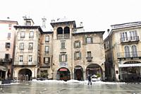 View of the Market Square after the snowstorm. Domodossola, Piedmont. Italy.