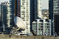 communications equipment on top of the CBC building in downtown Vancouver, BC, Canada.