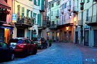 Vía Giudo Gozzano in the old quarter behind the Vecchio bridge. Ivrea. Italy.
