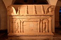 Roman sarcophagus of San Besso. Crypt of the cathedral of Santa María Assunta. Ivrea. Italy.