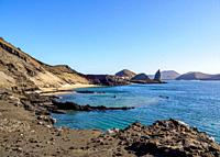 View towards Pinnacle Rock, Bartolome Island, Galapagos, Ecuador.