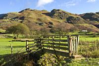 A wooden footbridge over a small beck at Dale Bottom with High Rigg beyond in the English Lake District National Park, Cumbria, England.