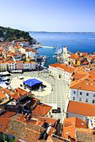 Tartini Square and city view. Piran. Slovene Istria region. Slovenia, Europe.