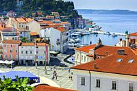 Tartini Square and city view. Piran. Slovene Istria region. Slovenia, Europe.