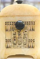 Egypt, Cairo, Egyptian Museum, Tutankhamon alabaster, from his tomb in Luxor : Side of a painted box, with knobs in obsidian, and cartouches of the ki...