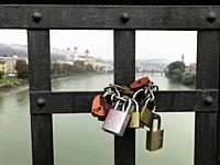 Love locks the keys are thrown into the Inn river Germany