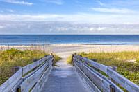 Wood walkway to a Gulf of Mexico beach in Nokomis in southwest Florida, UNited States.