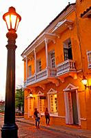 sunset in the historic center, Cartagena de Indias, Colombia