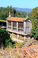 Hórreo. Traditional granary. Pontevedra province. Galicia. Spain