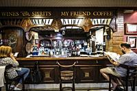 Interior of an old pub in the downtown of Aviles, Asturias.