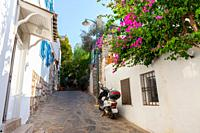 Narrow alley not for cars, in residential area in Bodrum, Turkey.