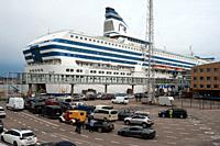Helsinki, Finland, Europe - A Silja Line cruiseferry is docked at the Olympia Terminal in Helsinki's south port. The Finnish brand is operated by the ...