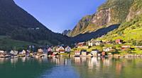 Fjord Village, Aurlandsfjorden Fjord, Flam, Norway, Scandinavia, Europe.