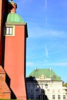 Buttress of the Royal palace and Pod Blacha palace, center of Warsaw, Poland.