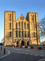 The West Front of Ripon Cathedral at sunset Ripon North Yorkshire England.