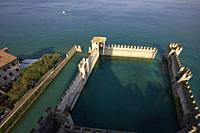 Elevated view of the walls of the scaliger castle of Sirmione, Brescia province, Italy.